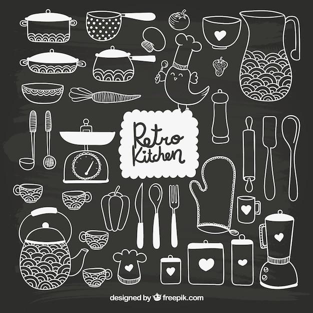 Utensilios de cocina dibujados a mano en estilo pizarra for Utensilios de cocina vintage