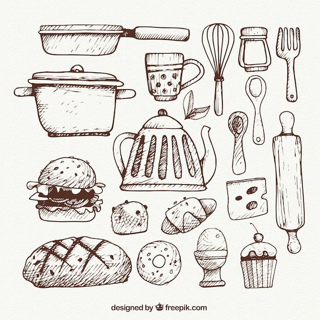 Utensilios de cocina esbozados descargar vectores premium for Utensilios de cocina vintage