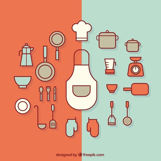 Utensilios de cocina planos descargar vectores gratis for Planos de cocinas gratis