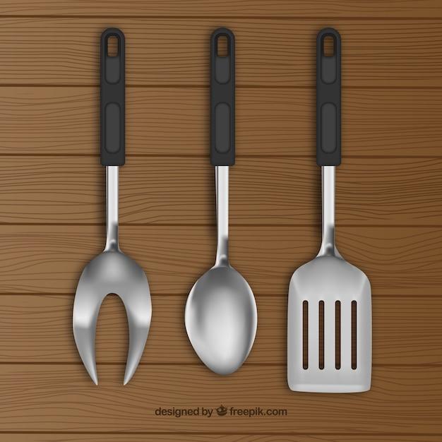 Utensilios de cocina realistas descargar vectores gratis for Utensilios de cocina vintage