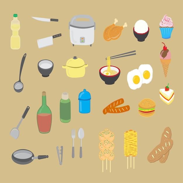 Utensilios de cocina y comida | Descargar Vectores Premium