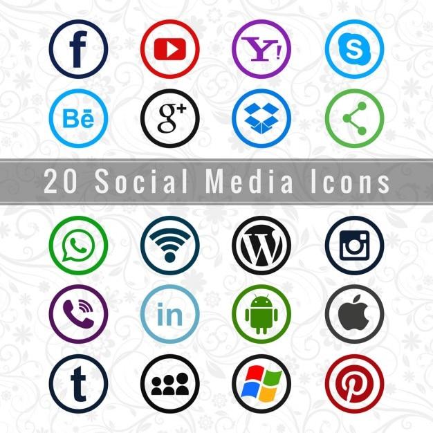 Útiles iconos de redes sociales vector gratuito
