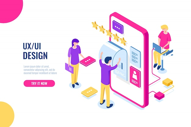 Ux ui design, aplicación de desarrollo móvil, construcción de interfaz de usuario, pantalla de teléfono móvil vector gratuito
