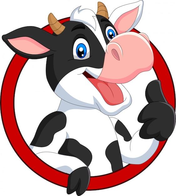 Vaca feliz de dibujos animados rindiendo pulgar Vector Premium