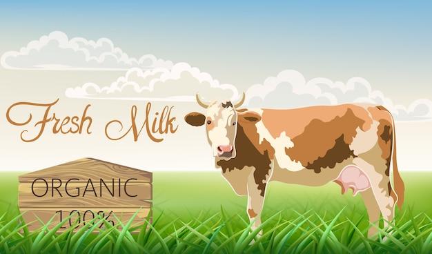 Una vaca con manchas marrones mirando a la cámara con un prado de fondo. leche fresca ecológica. vector gratuito