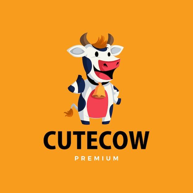Vaca pulgar arriba mascota personaje logo icono ilustración Vector Premium