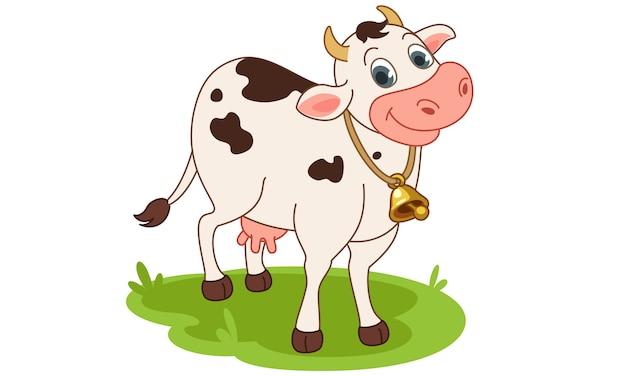 Vaca sonriente ilustración vectorial de dibujos animados vector gratuito