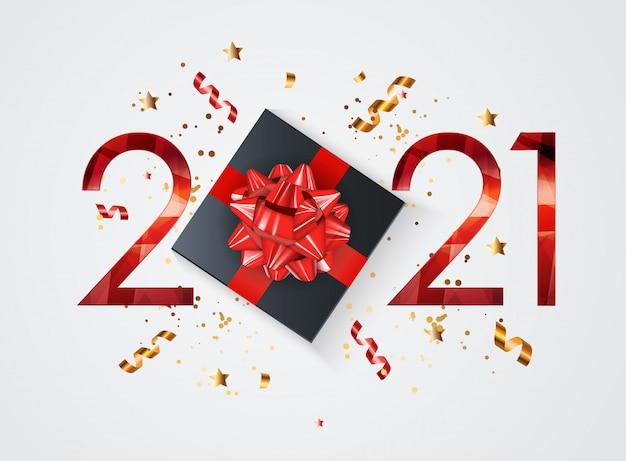 Vacaciones 2021 año nuevo y feliz navidad fondo. ilustración vectorial   Vector Premium