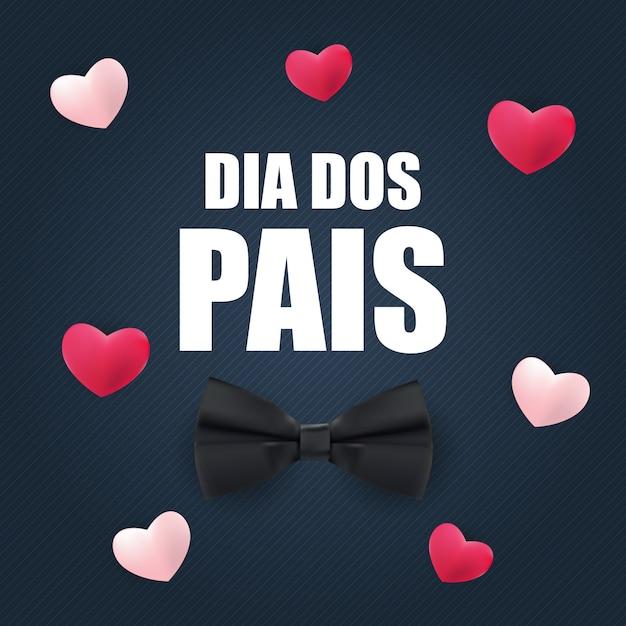 Vacaciones en brasil día del padre. portugués brasileño diciendo feliz día de los padres. dia dos pais ilustración vectorial Vector Premium