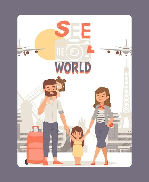 De vacaciones con la familia, vea la ilustración del cartel mundial. recorrido turístico en europa, fondo histórico de la ciudad. pareja joven con niño Vector Premium