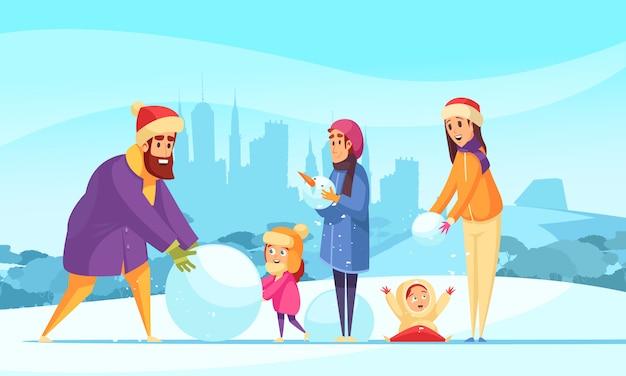 Vacaciones familiares activas en invierno padres e hijos con bolas de nieve en el fondo de siluetas de la ciudad vector gratuito