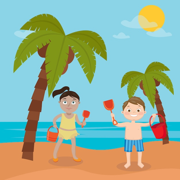 Vacaciones en el mar para niños. niña y niño jugando en la playa. ilustración vectorial Vector Premium