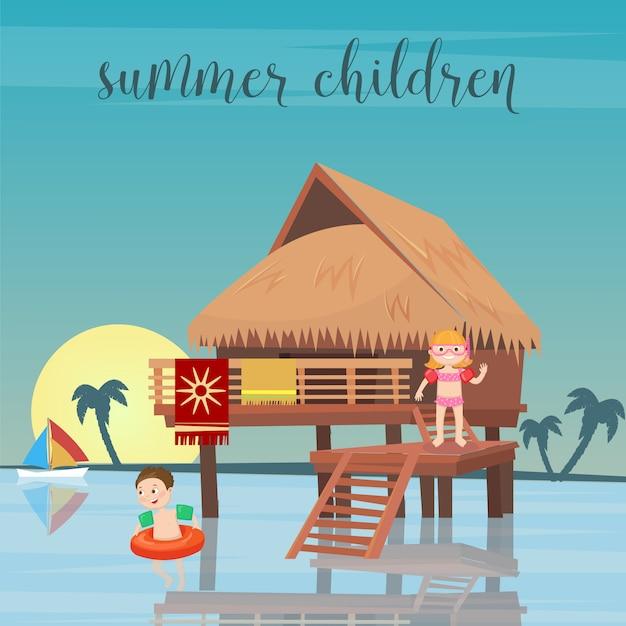 Vacaciones en el mar para niños. niña y niño en la playa bungalows. ilustración vectorial Vector Premium