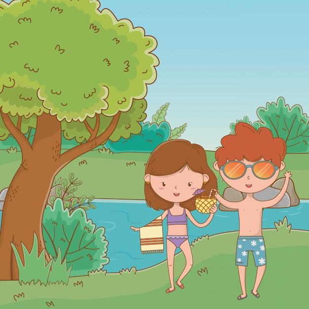 Vacaciones y verano al aire libre. vector gratuito