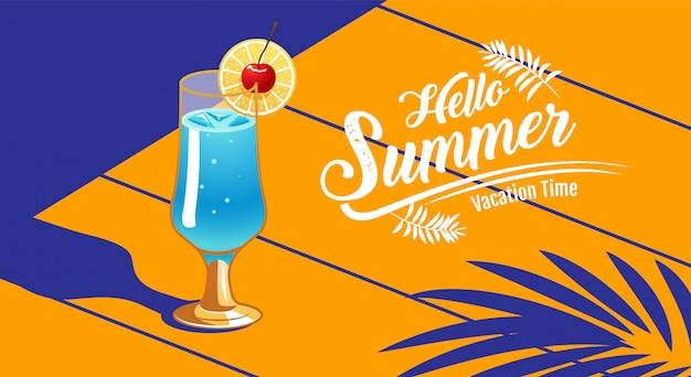 Vacaciones de verano, banner, cóctel Vector Premium