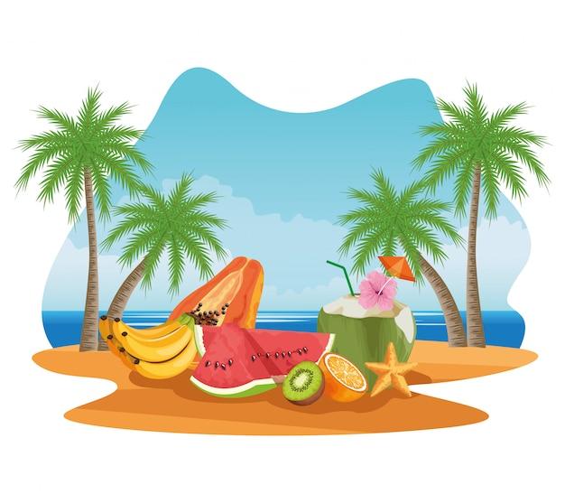Vacaciones de verano y dibujos animados de playa. vector gratuito