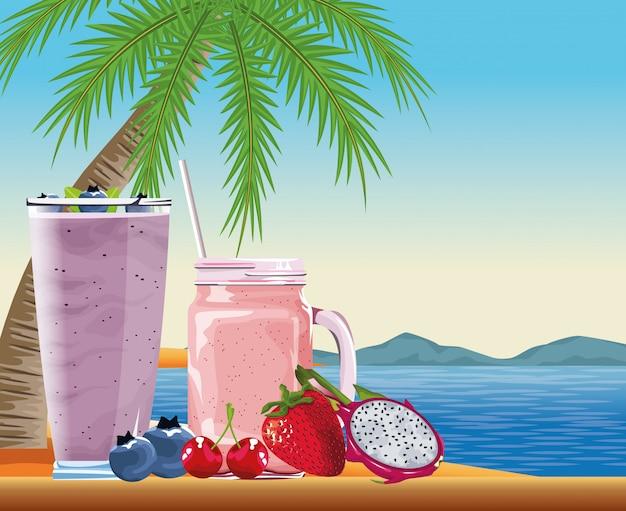 Vacaciones de verano y playa en estilo de dibujos animados. vector gratuito