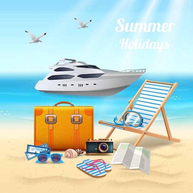 Vacaciones de verano realista hermosa composición vector gratuito