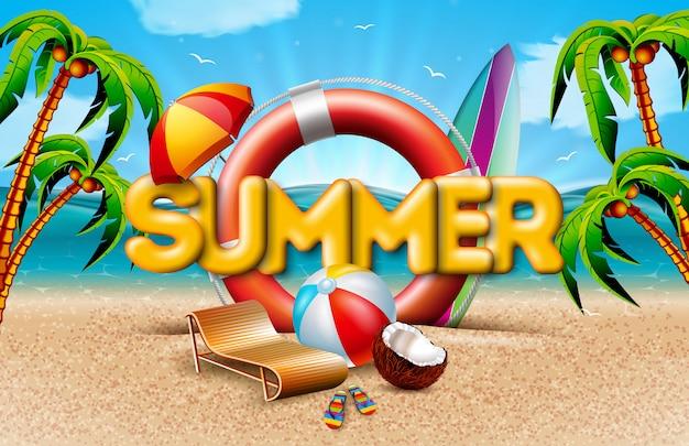 Vacaciones de verano con salvavidas y palmeras vector gratuito