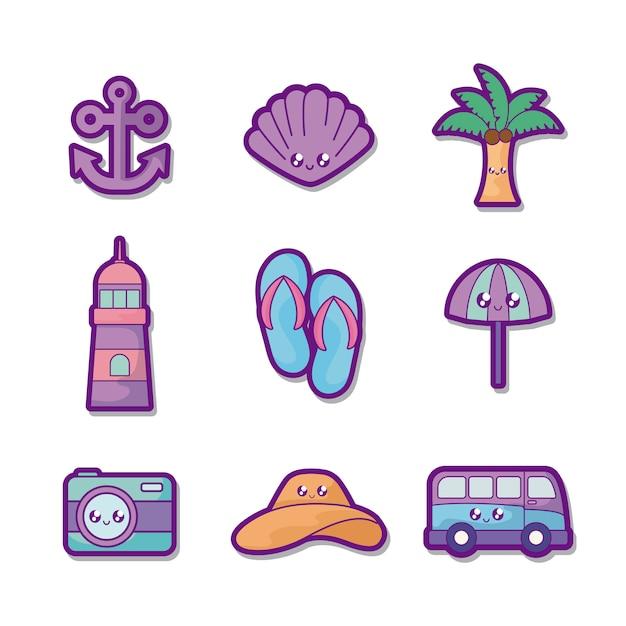 Vacaciones de verano set iconos vector gratuito
