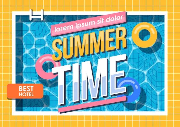 Vacaciones de verano vacaciones, piscina Vector Premium
