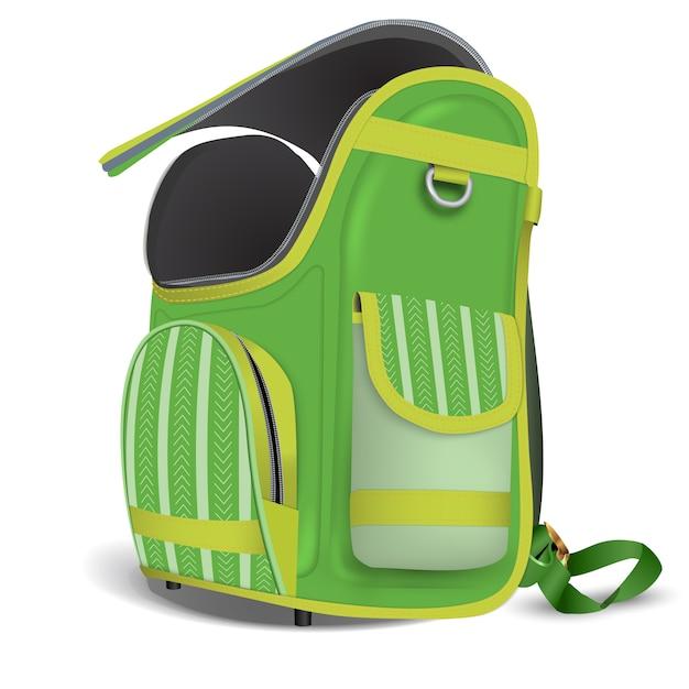 Vaciar mochila escolar abierta. Vector Premium