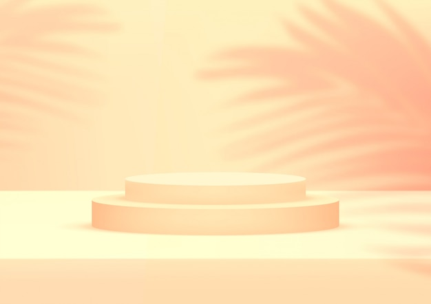 Vacie el fondo anaranjado del estudio del podio con las hojas de palma para la exhibición del producto. Vector Premium