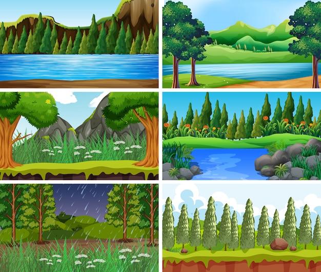 Vacío, escenas de la naturaleza del paisaje en blanco o de fondo vector gratuito