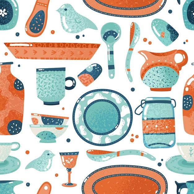 Vajilla de patrones sin fisuras. inicio acuarela cocina y cocina vajilla plato plato taza de cerámica jarra fondo Vector Premium