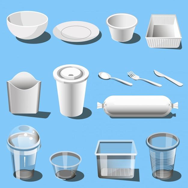 Vajilla de plástico desechable vajilla iconos vectoriales Vector Premium