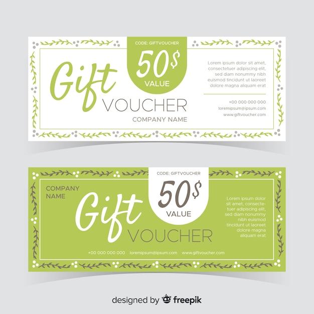 Vale de regalo de diseño plano vector gratuito