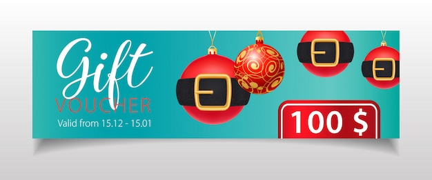 Vale de regalo con letras y adornos navideños con cinturones. vector gratuito