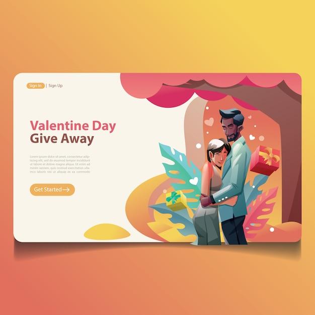 Valentine casado pareja abrazo ilustración diseño página aterrizaje Vector Premium