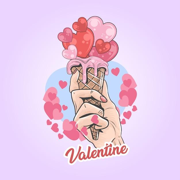 Valentine love ice cream ilustraciones Vector Premium