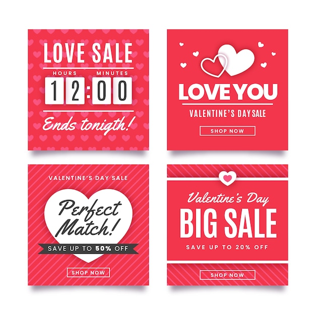 Valentine's day red sale instagram post collection vector gratuito