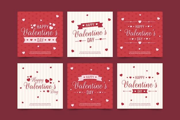 Valentine's day sale instagram post collection vector gratuito