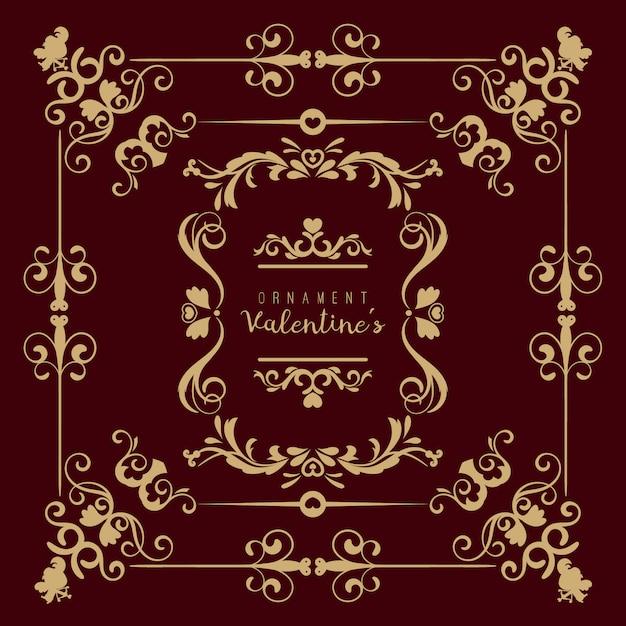 Valentine set con diferentes adornos florales en forma de remolino Vector Premium