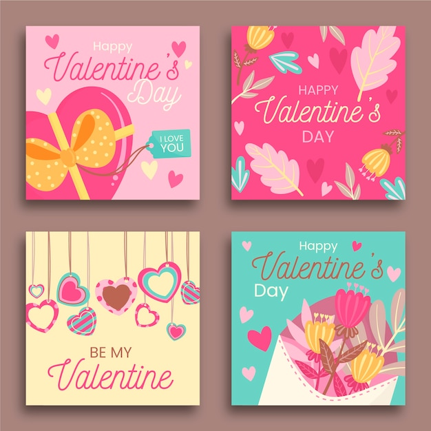 Valentines day instagram post collection vector gratuito