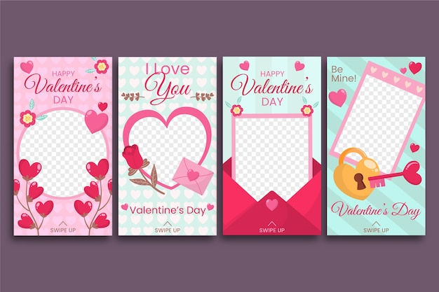Valentines day instagram story collection vector gratuito