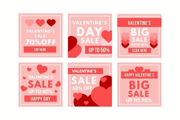Valentines day sale instagram post collection vector gratuito