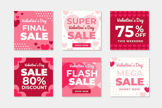 Valentines day sale instagram post collection vector gratuito