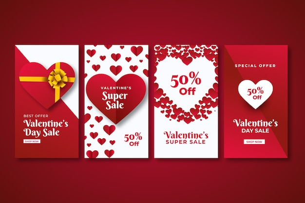 Valentines day sale instagram story collection vector gratuito