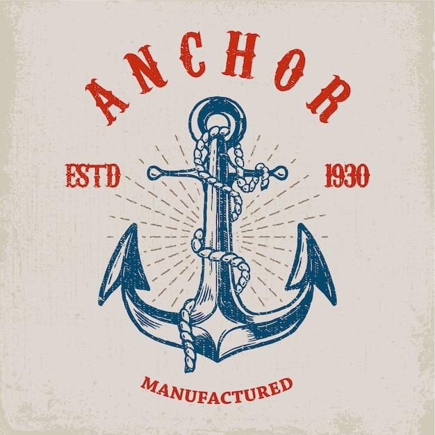 Valiente marinero. ancla dibujada a mano sobre fondo grunge. elemento para póster, tarjeta, camiseta. ilustración Vector Premium