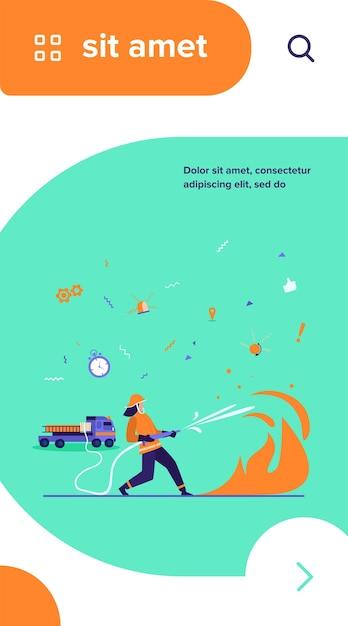 Valientes bomberos vestidos con uniforme y cascos contra incendios aislados ilustración vectorial plana vector gratuito