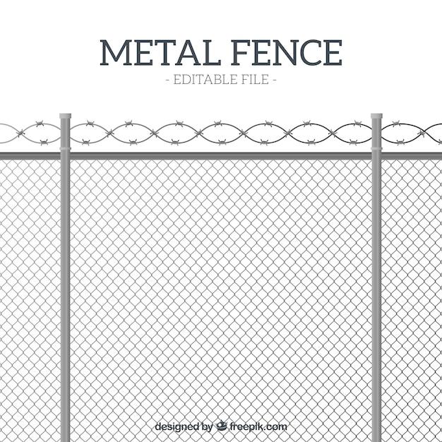 Valla de metal de estilo flat con alambre de espino vector gratuito