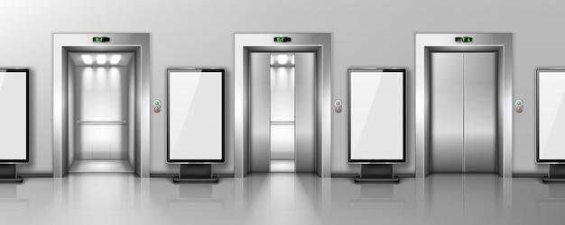 Vallas publicitarias y puertas de ascensores en el pasillo de la oficina vector gratuito