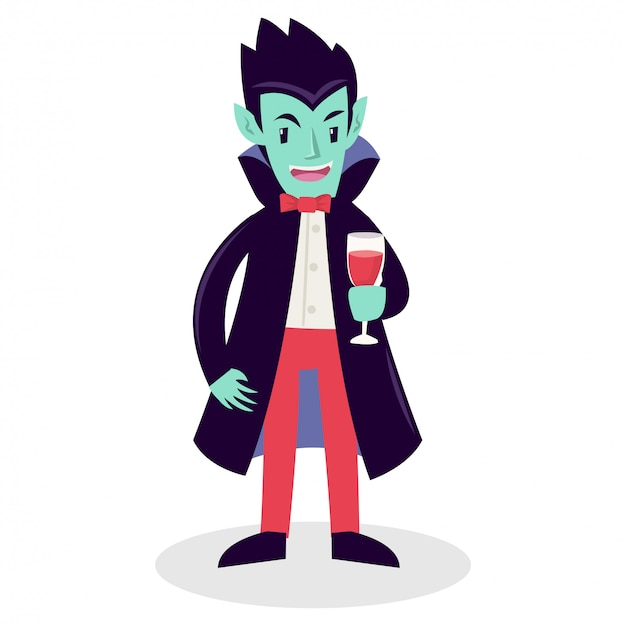 Un vampiro sosteniendo un vaso lleno de sangre. Vector Premium