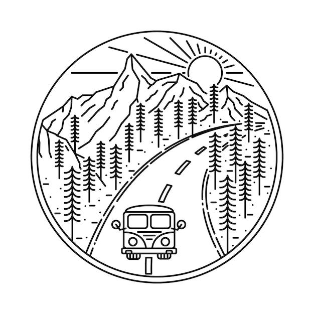 Van camping senderismo escalada montaña naturaleza ilustración Vector Premium