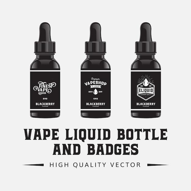 Vape e- plantilla de ilustración de sabor de botella líquida Vector Premium