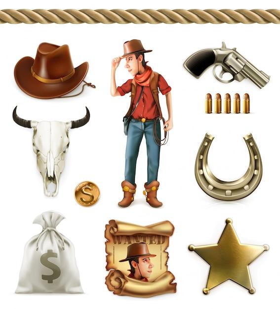 Vaquero personaje de dibujos animados y objetos. aventura occidental Vector Premium